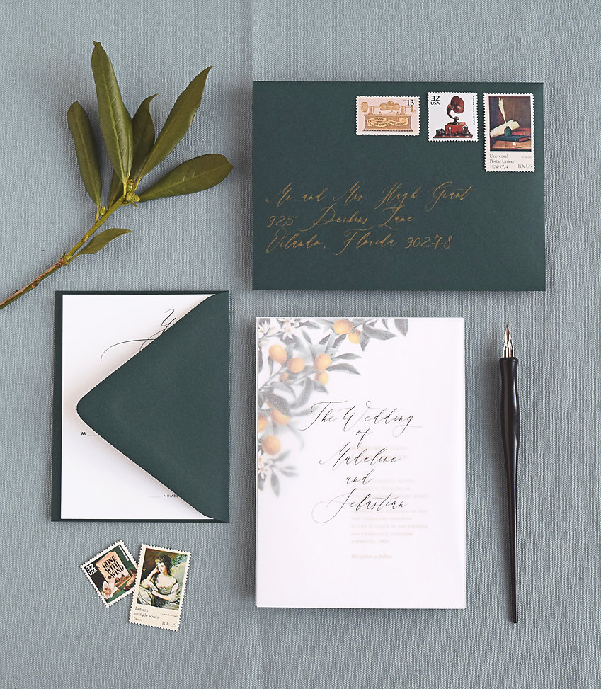 citrus wedding invitation, envelope, rsvp card, foil printing, addresing, vellum