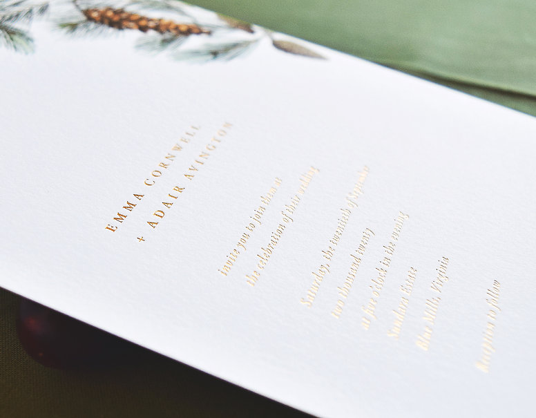 Adair gold foil invitation front, pine, mountian, forest, wedding invitation