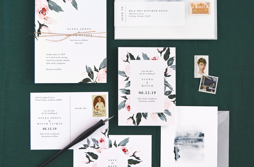 Flora Invitation, Save the Date card, and Save the Date Postcard