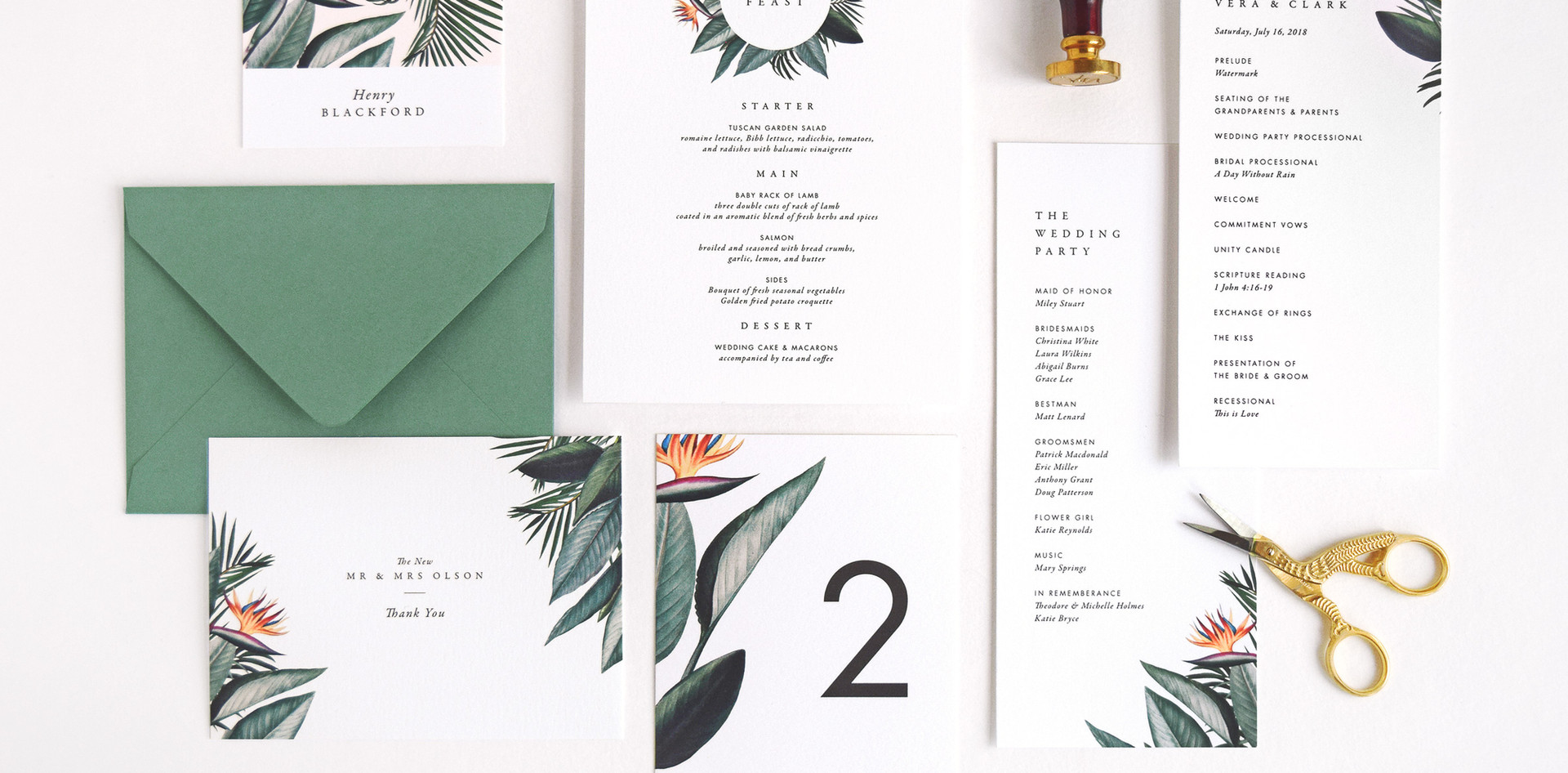 Vera program card, menu card, place card, table number, and thank you card
