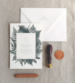 Fern Invitation card with envelope, return address printing, and metallic copper tag, Rachel Marvin Creative