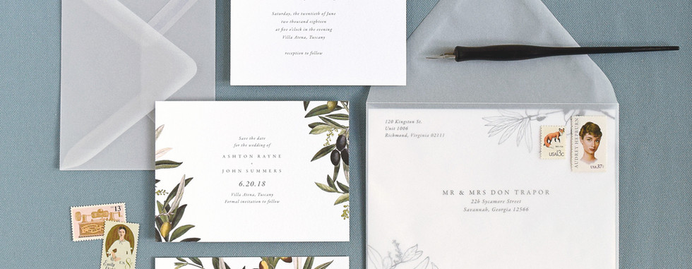 Oliva Invitation, Save the Date card, and Save the Date Postcard