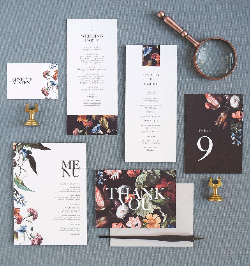 Modern wedding program, place card, thank you card, table number card, menu, bold, elegant