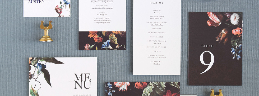 Juliette program card, menu, place card, table number, and thank you card