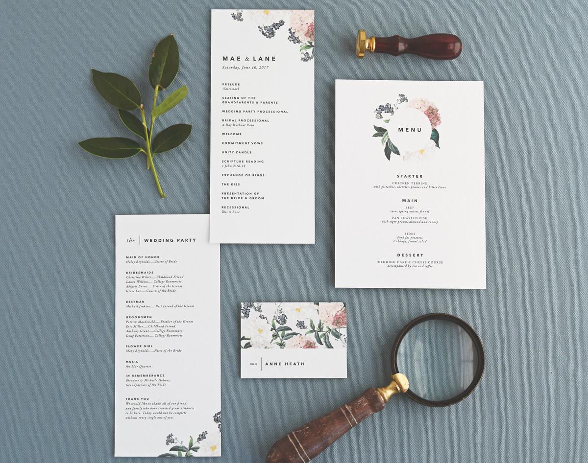 The Mae program card, menu, and place card