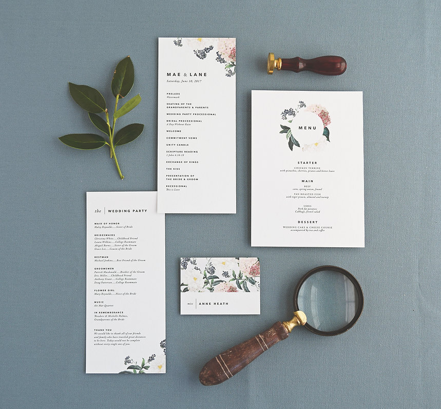 Wedding programs, menus and place cards by Rachel Marvin Creative
