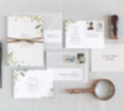 greenery wedding inivitation, save the date, save the date postcard, minimal, leaves