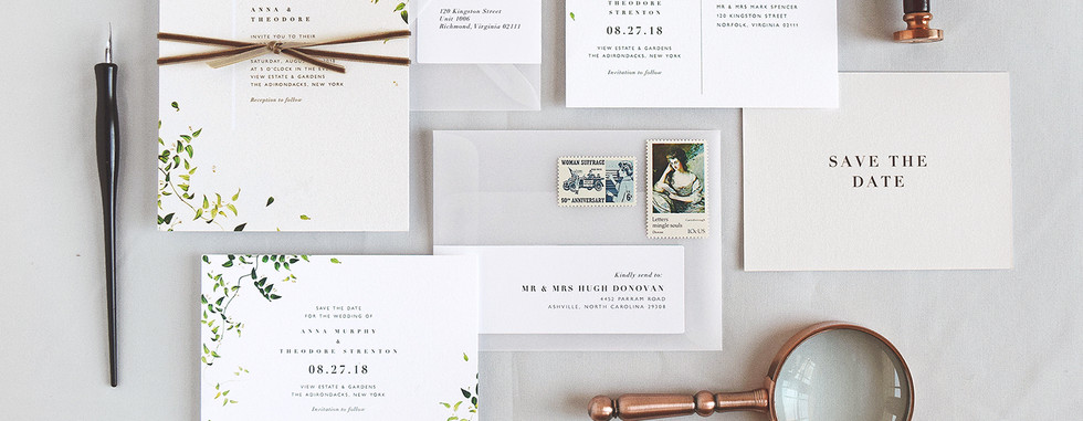Anna Invitation, Save the Date card, and Save the Date Postcard