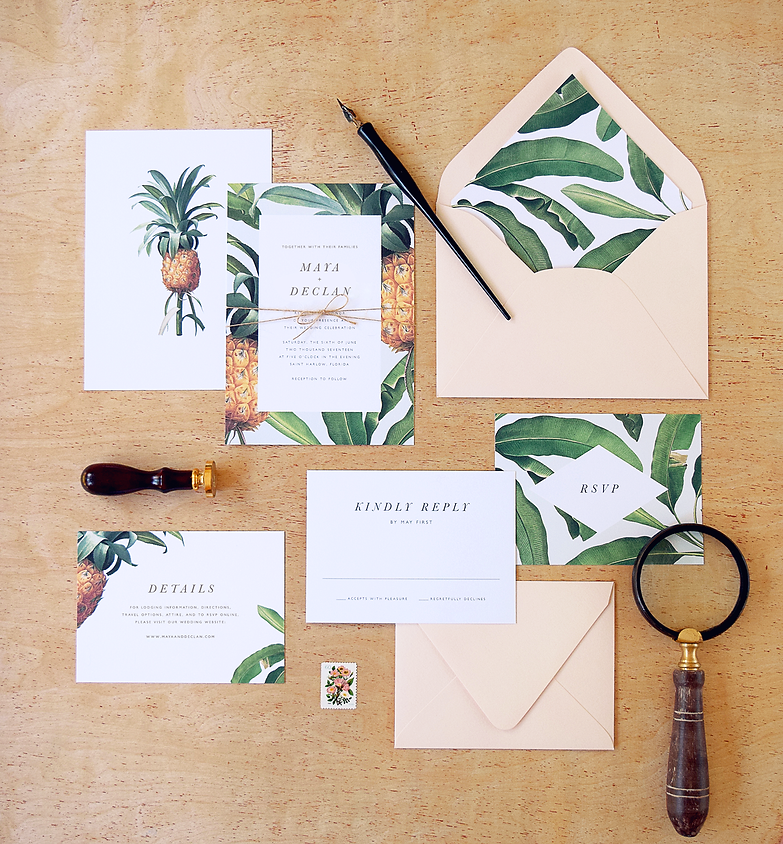 Tropical Pinneapple and Banana leaf wedding invitations