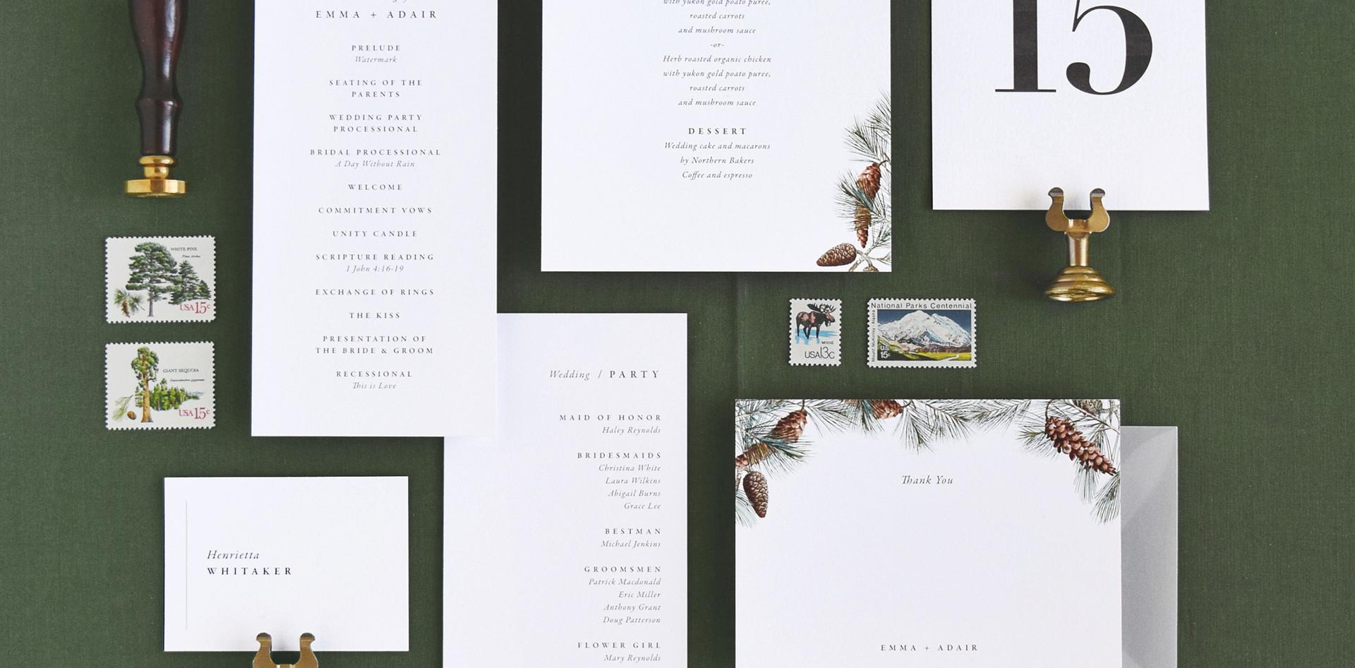 Adair menu card, program card, table number, place card, and thank you card