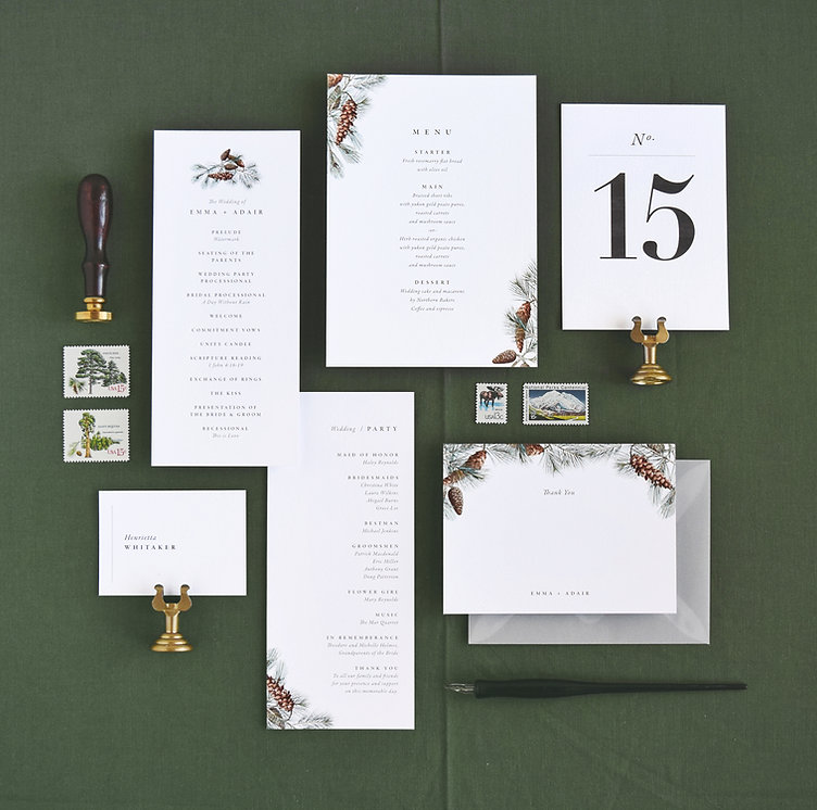 Adiar day of paper goods, menu, program, table number, forest, pine, mountain theme