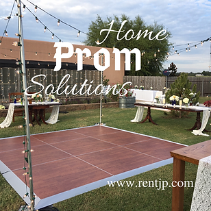 home prom solutions with dance floors, string lights and DJ entertainment sound and lighting systems