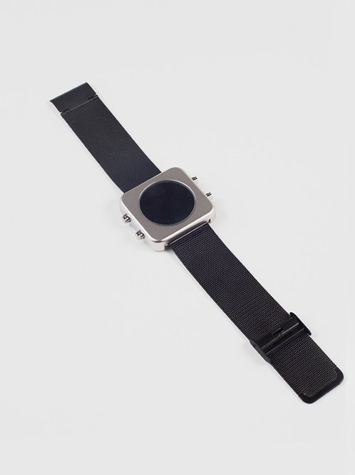 New Circa black mat case/silver mesh-Boîtier noir mat/maille chrome (REF:CB/SM)