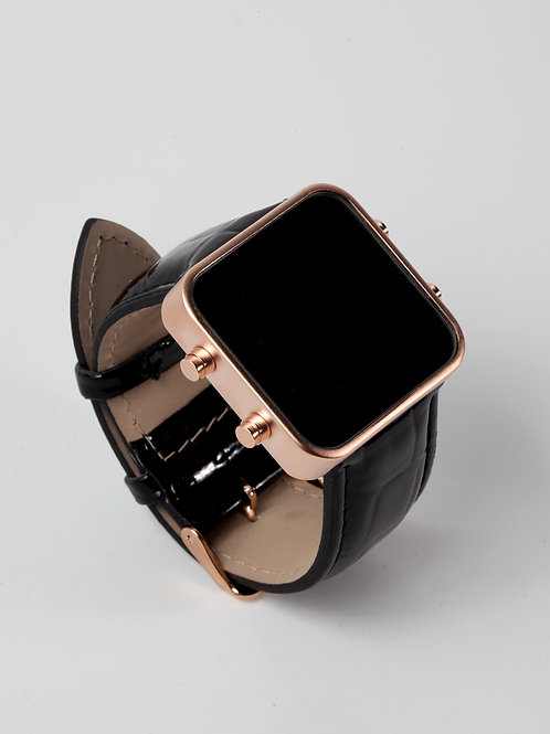 Shiny black leather/mat rose gold (Ref:RG/SBL)