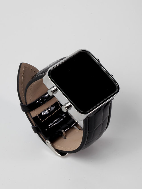 Shiny black leather/chrome (Ref:CR/SBL)