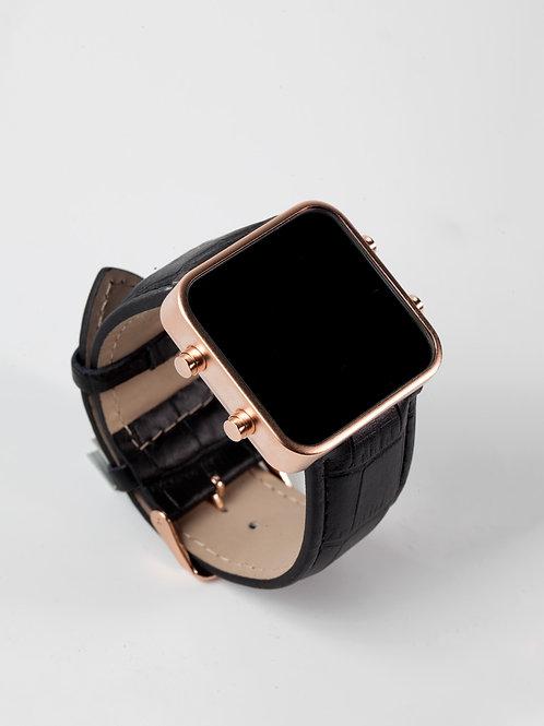 Black leather/mat rose gold (Ref:RG/BL)
