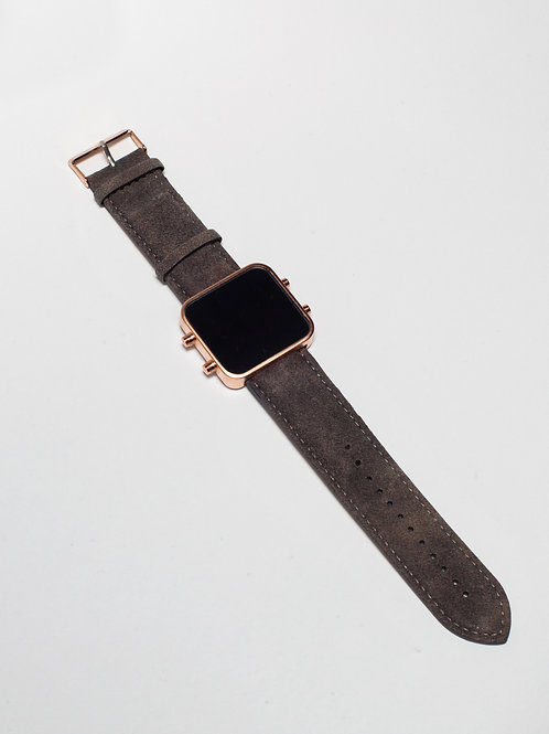 Vintage Brown leather/Cuir aspect nubuck marron - Mat Rose Gold (Ref:RG/VB)