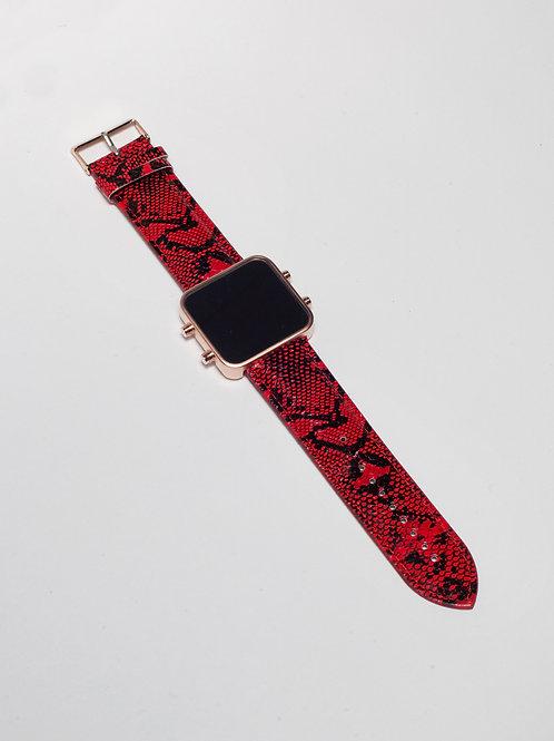 Red and Black Snake/Serpent Rouge et Noir - Mat Rose Gold (Ref:RG/R&BSN)