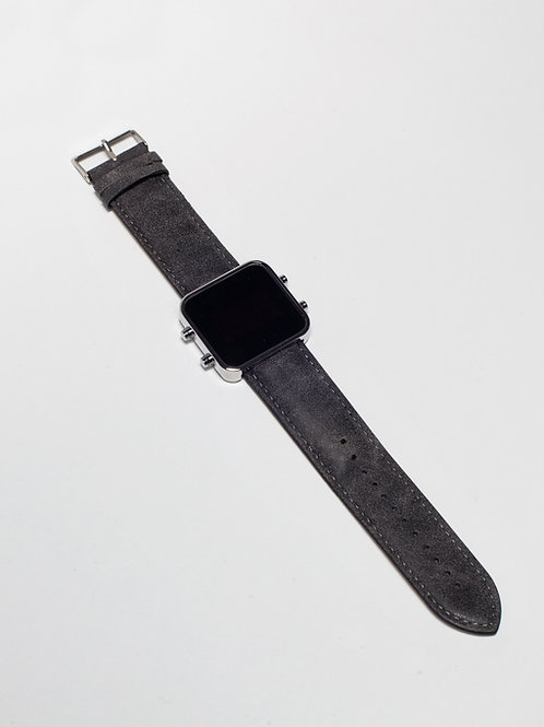 Vintage Grey leather/Cuir aspect nubuck gris - Chrome (Ref:CR/VG)