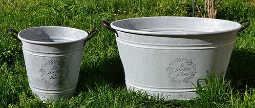 Ensemble bassine+seau zinc