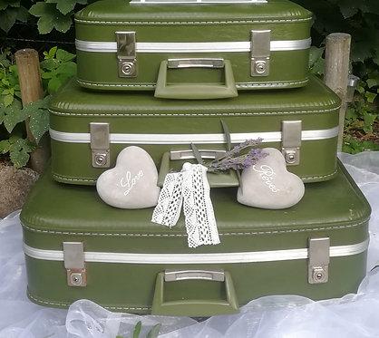 "Trio de valises ""hôtesse"" vert olive"