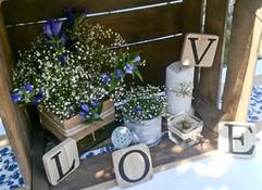décoration champêtre blanc/parme