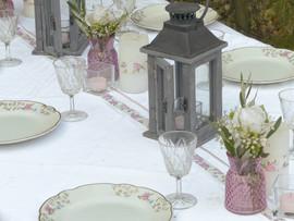 centre de table gris rose