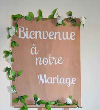 """Panneau bois """"Bienvenue ..."""""""