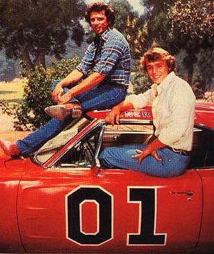 Bo and Luke Duke atop the General Lee courtesy of www.tvacres.com