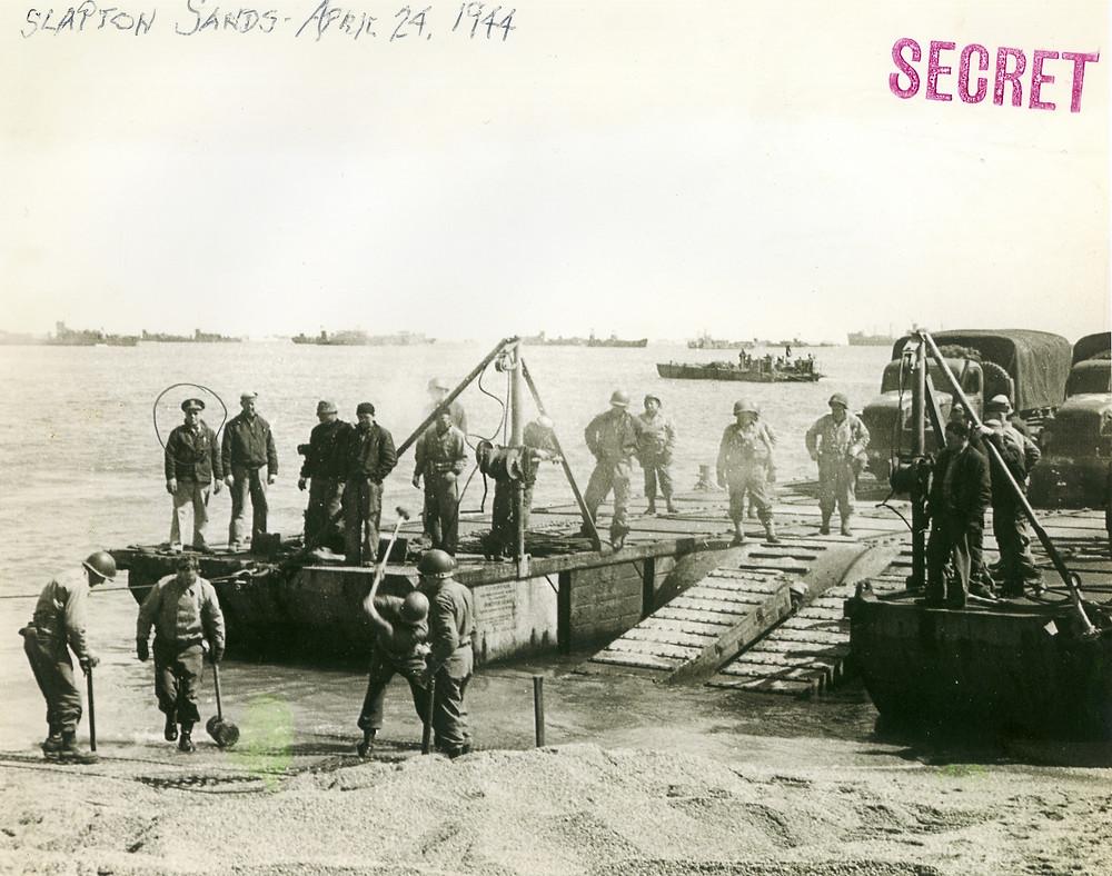 Slapton Sands, April 24, 1944. Dadah is circled on the left.