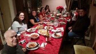 The Colella family at the Christmas table, 2014. Contributed