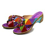 Colorful slip on shoes with small heel.