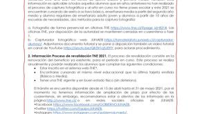 Información sobre la Tarjeta Nacional Estudiantil (TNE) 2021