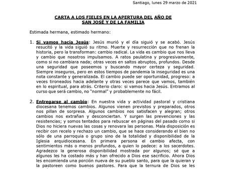 Carta del Cardenal Celestino Aós en el Año de San José.