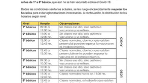 Comunicado sobre horario de vacunación