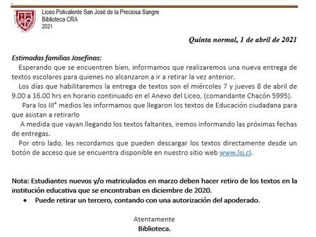 Información sobre textos escolares