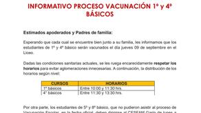 Informativo sobre el proceso de vacunación de 1° a 4° básico.