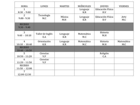 Horario de clases sincronizadas ANEXO 2020