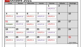 Calendario de grupos para clases presenciales, Octubre 2021