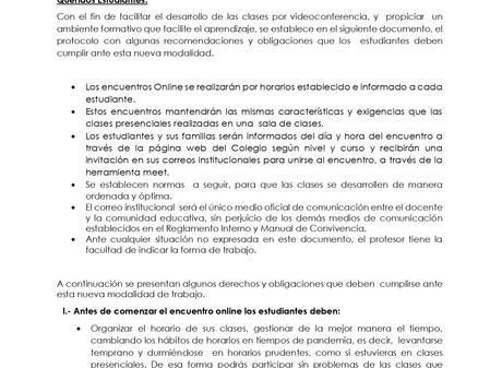 Protocolo para  estudiantes sobre clases sincronizadas