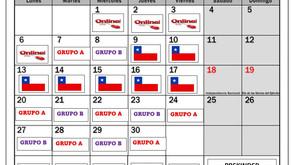 Calendario de grupos para  clases presenciales, Septiembre 2021