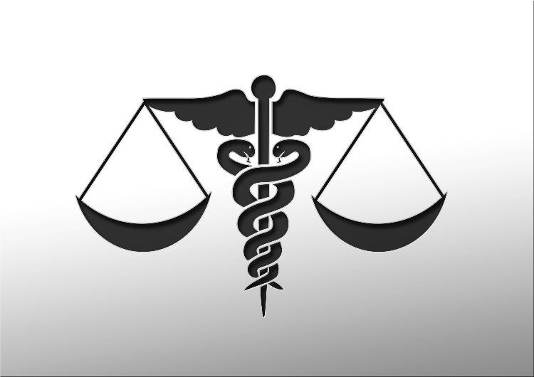 Il caduceo della medicina e la bilancia della giustizia.
