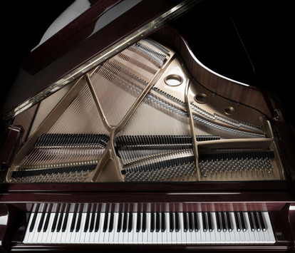 Inside, open look of a grand piano
