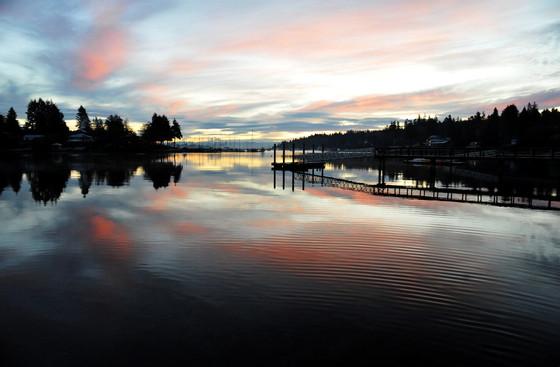 Eagle Harbor pink cloud morning