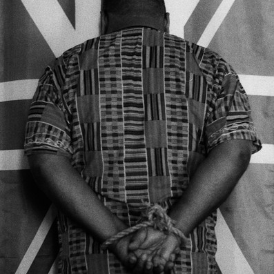 Marc and the Union Jack flag, black and white film image, Fujica ST605 vintage camera, 2019