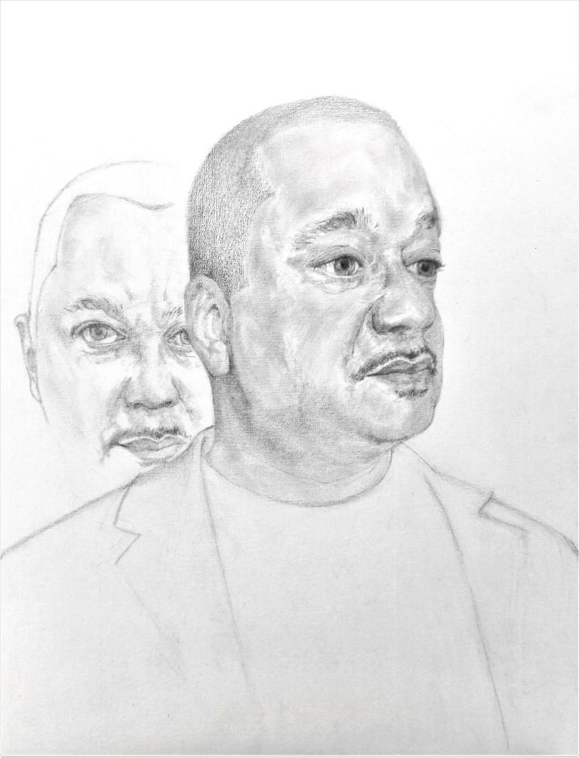Marc, graphite pencil on canvas board, 61 x 61 cm, 2019