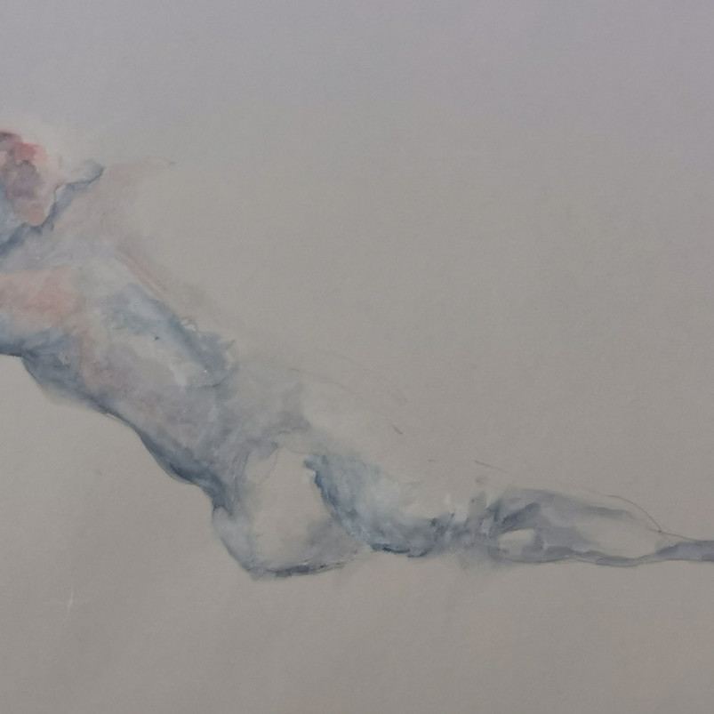 Nude, watercolour on toned paper, 22.9 x 30.5 cm, 2018