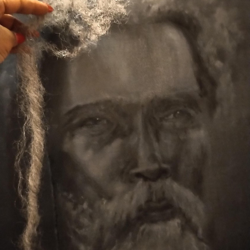 Dreadlocked Black man, oil paint on canvas board, 77 x 50 cm, 2020