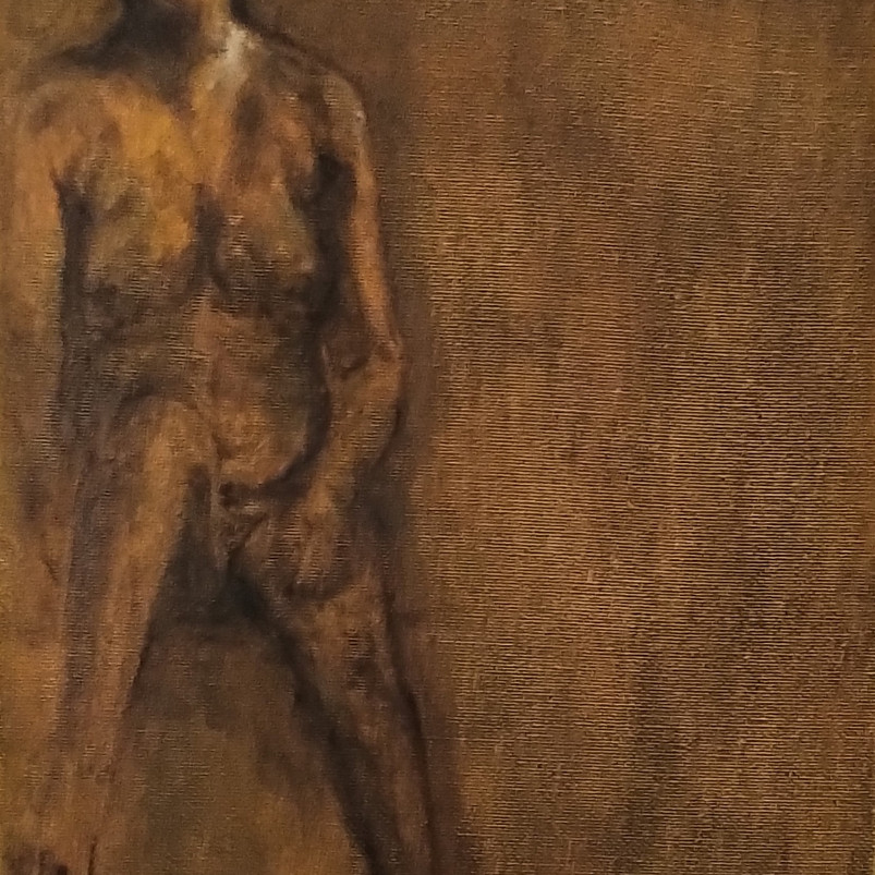Nude, pil painting on canvas board, 23 x 20 cm, 2020