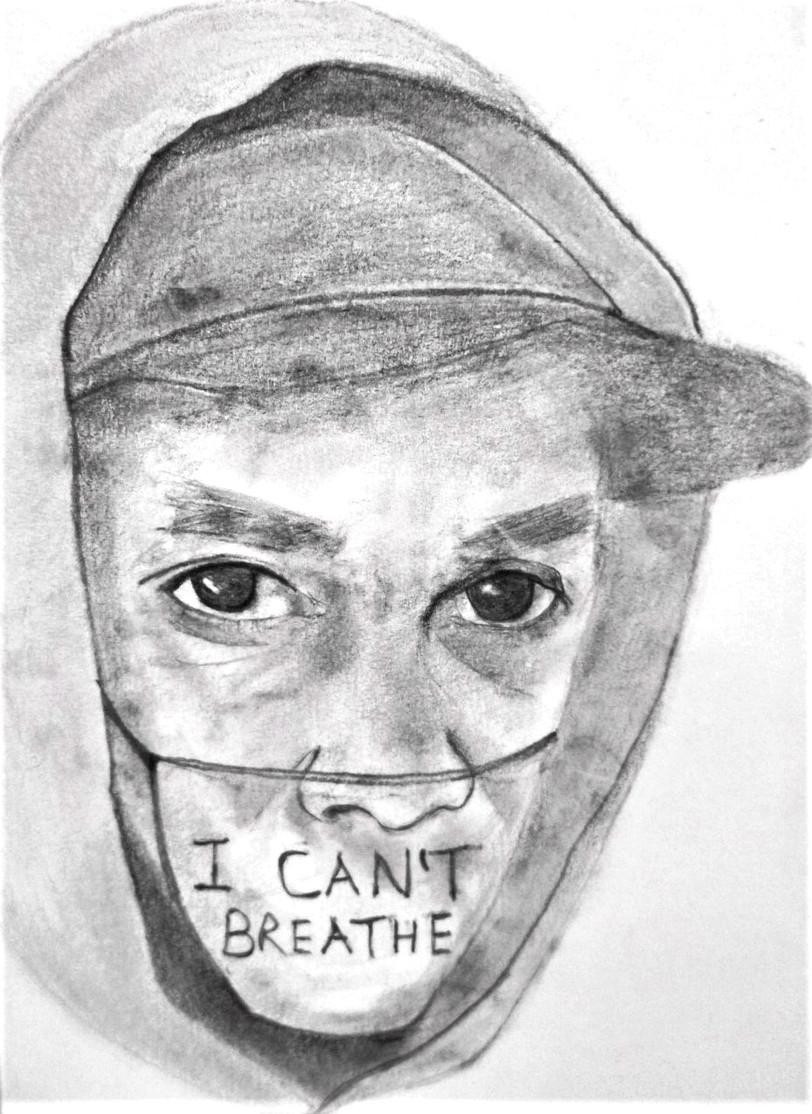 Black Lives Matter, graphite pencil on postcard, 10.6 x 10 cm, 2021